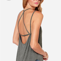 LULUS Exclusive What's Strap-pening? Grey Tank Top