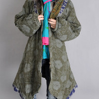 floral winter coat in green S079 by SewSoulSeed on Etsy