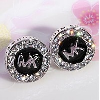 MK Classic Stylish Women Chic Letter Diamond Circular Earrings Accessories Jewelry Silvery