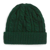 GREEN CABLE KNIT BEANIE - New In