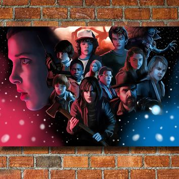 Stranger Things Inspired Canvas Framed Wall Art Fan Art