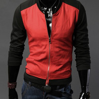Black and Red Long Sleeve Zipper Design Jacket