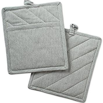 "DII Cotton Chambray Pot Holders with Pocket, 9x8"" Set of 2, Machine Washable and Heat Resistant Pocket Mitts for Kitchen Cooking and Baking-Artichoke Green"