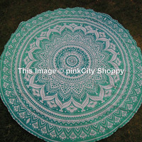 Ombre Mandala Round Roundie Beach Throw Beach Towel Wall Hanging Tapestry Gypsy Cotton Tablecloth Table Cover Kitchen Table Cloth Yoga Mat