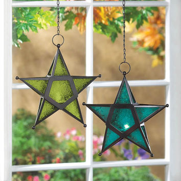 Candle Lanterns-Hanging Glass Star  4 Color Choices
