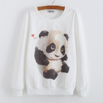 New Fashion Womens White Long Sleeve Graphic printed Crew Sweatshirt hoodies Tops Outwear (Color: White) = 1932468292