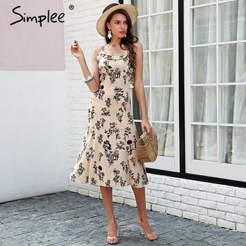 Simplee Strap floral print boho dress Backless ruffle sexy black midi dress women Beach summer dress vestido femme