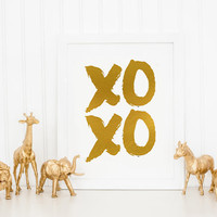 Love Poster,Black And Gold,Gold Foil,Gift For Boyfriend,Valentines,Wall Art, FASHION Print,XOXO,Gossip Girl,Kisses And Hugs,Lovely Words