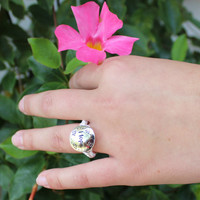Wire Wrapped Ring-  Hope Hand Stamped Ring