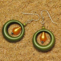 Mod Lightweight Dark Olive Green Vintage Lucite Hoop With Vintage Lucite Moonglow Tangerine Teardrop Earrings
