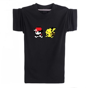 Go 8-Bit Collage 3D Kawaii T-Shirt 90s Video Game And Anime Printed Pikachu Stitch Funny T Shirt Characters Cartoon TeeKawaii Pokemon go  AT_89_9