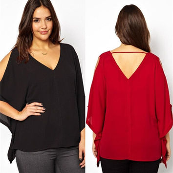 plus size 6XL 2015 summer style fashion red black chiffon blouse v neck loose ladies tops women clothing blusas womens blouses = 1958451652