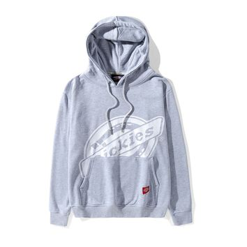 Dickies classic street fashion printing couples round neck bottoming sweater grey