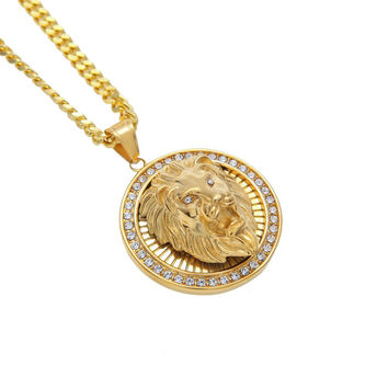 14K Gold Plated Iced Out Lion Head Necklace
