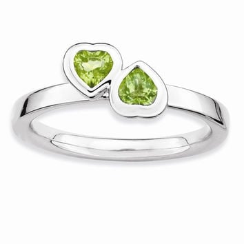 Sterling Silver Peridot Double Heart Ring