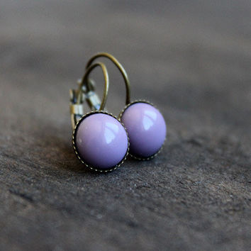 Lilac // elegant glass cabochon earrings - antique bronze earrings with lilac glass cabochon - boho jewelry - women, girls