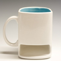White and teal blue Dunk mug