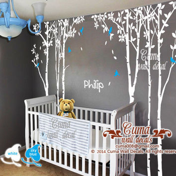 tree and birds wall decal Vinyl wall decals wall decal nursery wall sticker children - 6tree birds Z224 Cuma