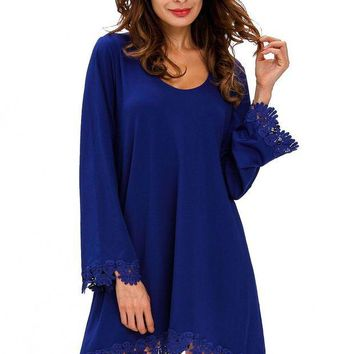 ONETOW Royal Blue Lace Trim Long Sleeve Casual Mini Dress