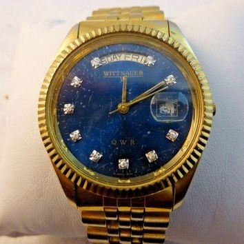 ONETOW VINTAGE MENS WITTNAUER BY LONGINES PRESIDENT WITH DIAMONDS WORKING GREAT