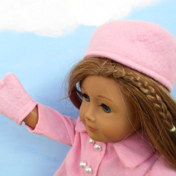 Doll Hat and Mittens, Light Pink Wool Felt Hat and Mittens, Russian Style Hat fits 18 Inch Dolls such as American Girl Dolls