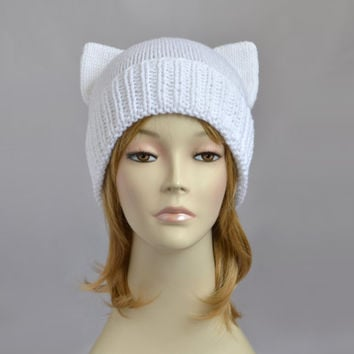 White Cat Hat, Knit Cat Ear Hat or Cat Beanie, Womens Cat Hat or Mens Cat Hat