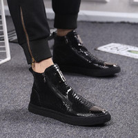 Fur Lined Booties Side Zip Funky Patchwork Real Leather British Style Snake Print 2016 Latest Fashion Biker Boots Elevator