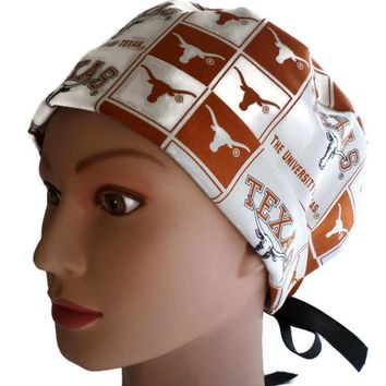 Women's Pixie Surgical Scrub Hat Cap in Texas Longhorns Squares