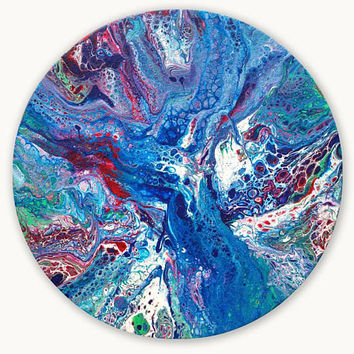 Round painting, original abstract painting on canvas, original painting, Abstract Wall Art, fluid painting, blue painting