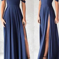 2019 Gorgeous Navy Blue Prom Dresses,Elegant Evening Dresses,Long Formal Gowns,Slit Party Dresses,Chiffon Pageant Formal Dress G4865