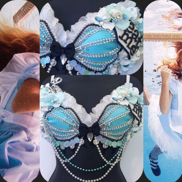 Alice Mermaid Seashell Bra-  Alice in wonderland, rave bra, halloween, costume, edm, festival, beyond wonderland, disney, siren, edc