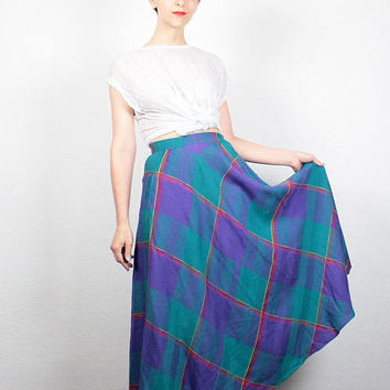 Vintage 80s Skirt High Waisted Skirt Preppy Teal Green Purple Pink Plaid Skirt 1980s Skirt Midi Skirt Mod Tea Length Skirt XS Extra Small