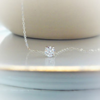 Floating Diamond Necklace - Solitaire Diamond Necklace - Silver Necklace - Floating Crystal - Simple - Zircon Necklace - Gift for her