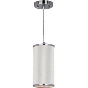 ET2 E95030-102SN Elements Satin Nickel One-Light Mini Pendant with White Pleat Linen Shade