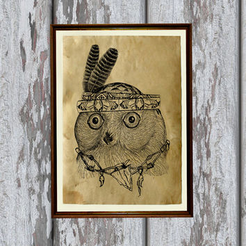 Native american owl print Tribal animal decor Bird poster 8.3 x 11.7 inches
