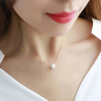Hot Alloy Imitation Pearl Of l Love Pendant Necklaces Clavicle Chains Choker Necklace For Women Girls Fashion Jewelry