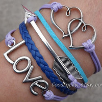 Jewelry Telesthesia Lovers bracelet--silver LOVE,Heart linked to heart and arrow purple and blue Wax rope Braided leather bracelet