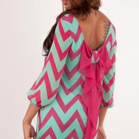 Mint & Fuchsia Chevron Bow Back 3/4 Sleeve Dress