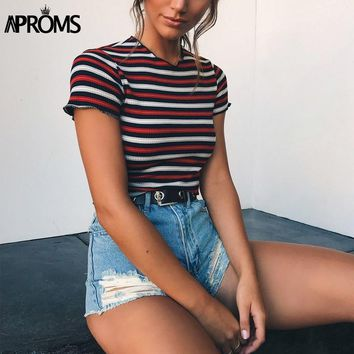 Aproms Multi Stripe Blocked Stretch T-shirt Women Summer Crop Top 90s Basic Tshirt Casual Short Sleeve Ribbed T Shirt Female Top