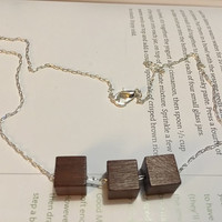 Minimalist/Naturalist Necklace, Dark Square Wood Beads on Silver-Plated Chain
