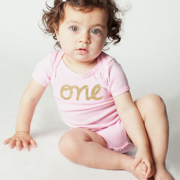 "Baby Girl 1st Birthday Outfit  Pink and Gold Glitter Short Sleeve first birthday ""one Onesuit, one birthday shirt, personalized Onesuit,"