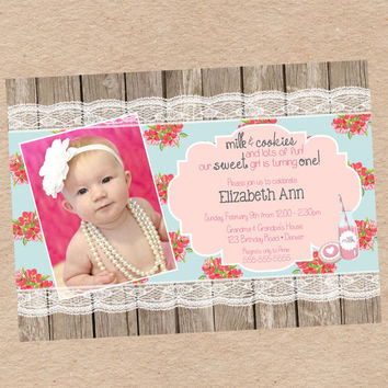 Shabby Chic Milk and Cookies Birthday Party Invitation - DIY Printables
