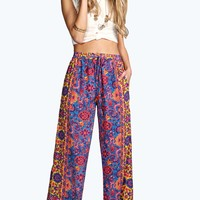 Sharon Border Print Wide Leg Trousers