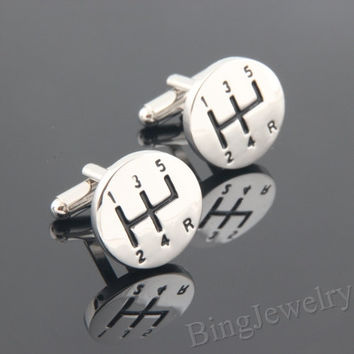Mens Cufflinks 5 Speed Stick Cuff links- Geekery Car Cufflinks Design Personalized Man Cufflink, Mens Gift Ideas