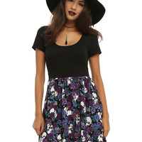 Black & Purple Floral Skull Dress