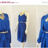 SALE Vintage Dress and Blouse Peplum Top 70s Disco Royal Blue Lizzy & Johnny by Lucero Size 8 Day to Night