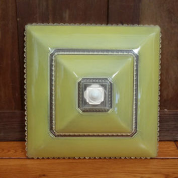 Vintage Yellow Square Ceiling Light Shade Globe Cover Great Retro Lighting
