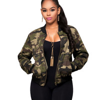 Zippe Up Casual Jackets Women Long Sleeve Camouflage Coats 2017 Autumn Winter Biker Printed Basic Down Coat Army Green Pockets