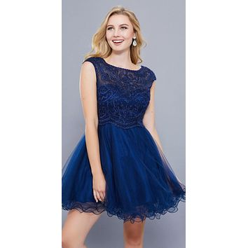 Cap Sleeves Poofy Short Homecoming Dress Appliqued Bodice Navy Blue