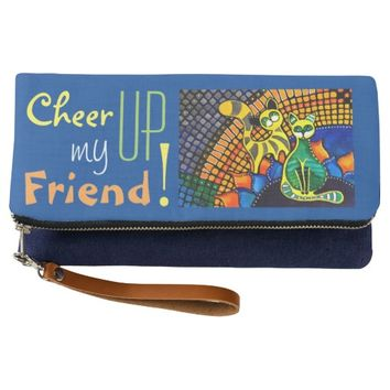 Cheer Up my Friend Colorful Whimsy Rainbow Cats Clutch